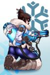 1girl ass back boots brown_hair canister coat fur glass glasses gun hair_bun hair_ornament hairpin highres kasu-pan kneeling mei-ling_zhou mei_(overwatch) overwatch solo thick_thighs thighs tube weapon