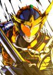 1boy armor kamen_rider kamen_rider_gaim kamen_rider_gaim_(series) male solo sword upper_body weapon yusuki_(fukumen)