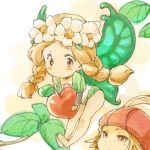 blonde_hair braid butterfly_wings chibi face fairy flower food fruit hat hat_feather ingway mercedes odin_sphere shirotaka shirotaka_(shirotaka) twin_braids wings