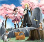 1boy 1girl artist_request black_boots blonde_hair boots cat character_request cherry_blossoms commentary_request dress flute instrument lyre mabinogi mandolin pink_dress pink_hair sheath sword tagme tree_stump watermark weapon web_address