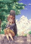 1girl :3 brown_hair capri_pants cellphone glasses hand_on_headphones headphones instrument_case long_sleeves original pants phone semi-rimless_glasses sheet_music short_twintails sitting sky smartphone smile solo stairs sweater tree twintails violet_eyes