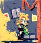 1girl alley bike_shorts blonde_hair boots glitch green_eyes knee_boots octarian paint_splatter setz splatoon splattershot takozonesu tentacle_hair