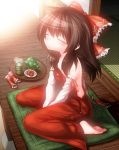 1girl alternate_costume bare_shoulders brown_hair closed_eyes colored_eyelashes commentary_request cushion detached_sleeves hair_ribbon hair_tubes hakurei_reimu highres naked_overalls overalls pouty_lips red_clothes ribbon saodake sitting solo strap_slip tatami touhou v_arms wariza wooden_floor