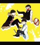 3boys :< bespectacled black_hair bowl_cut bowtie cat celty_sturluson celty_sturluson_(cosplay) choromatsu crossed_legs durarara!! fukuyama_jun fur_trim glasses hands_in_pockets heiwajima_shizuo heiwajima_shizuo_(cosplay) ichimatsu jyushimatsu kamiya_hiroshi kishitani_shinra kishitani_shinra_(cosplay) kuuya_(akagane001) labcoat letterboxed male_focus messy_hair multiple_boys necktie ono_daisuke orihara_izaya orihara_izaya_(cosplay) osomatsu-kun osomatsu-san road_sign seiyuu_connection sign sleeves_past_wrists splatter sunglasses sweatdrop waiter yellow_background