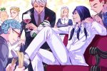 6+boys 9lara annoyed blonde_hair blue_hair butler chair cigarette closed_eyes crossdressing cup curly_hair drinking_glass formaggio ghiaccio glasses gloves green_hair hand_on_hip illuso jojo_no_kimyou_na_bouken long_hair maid maid_headdress male_focus melone multiple_boys multiple_tails pesci prosciutto purple_hair redhead risotto_nero shiny silver_hair sitting tail tray tuxedo white_gloves wine_bottle wine_glass