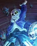 arm_up dark_background freeze-ex fur_trim glowing glowing_eye grin hand_in_pocket hoodie outstretched_arm sans shirt shorts skeleton skull smile spoilers undertale white_shirt