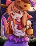 3girls :d absurdres applejack arm_behind_back bat belt bow broom broom_riding candy charm_(object) commentary_request dango dior-zi fang food full_moon ghost_costume hair_bow halloween highres horn_ribbon horns ibuki_suika ice_cream_cone jack-o'-lantern karakasa_obake kirisame_marisa long_hair looking_at_another looking_at_viewer moon multiple_girls my_little_pony my_little_pony_friendship_is_magic night open_mouth orange_hair outdoors peeking_out pumpkin_hat red_eyes ribbon shirt silhouette skirt sky sleeveless sleeveless_shirt smile star_(sky) starry_sky tatara_kogasa touhou tree umbrella very_long_hair wagashi