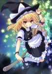 1girl apron black_dress blonde_hair bow bracelet braid broom broom_riding cross_(crossryou) dress grin hat hat_bow jewelry kirisame_marisa long_hair puffy_short_sleeves puffy_sleeves shirt short_sleeves single_braid smile solo star touhou waist_apron witch_hat yellow_eyes