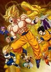 abs armor bald bare_chest black_eyes black_hair blonde_hair boots cape clenched_hands dougi dragon dragon_ball dragon_ball_z gloves glowing gotenks green_eyes highres jacket kuririn long_hair male_focus muscle open_mouth piccolo pointy_ears purple_hair sheath shenron shirtless shoulder_pads son_gohan son_gokuu speed_lines spiky_hair super_saiyan super_saiyan_3 sword torn_clothes trunks_(dragon_ball) turban umelim vegeta very_long_hair vest weapon white_boots white_gloves widow's_peak wristband