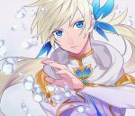 1boy air_bubble blue_eyes earrings feathers jewelry kamui_(tales_of_zestiria) long_hair male_focus mikleo_(tales) platinum_blonde ponytail sachico66 solo sorey_(tales) tales_of_(series) tales_of_zestiria