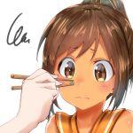 1girl brown_eyes brown_hair chopsticks close-up i-401_(kantai_collection) kantai_collection peas ponytail sailor_collar short_hair uno_ryoku