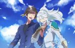 2boys closed_eyes coat earrings feathers interlocked_fingers jewelry long_hair male_focus mikleo_(tales) multiple_boys open_mouth ponytail sachico66 shirt sky smile sorey_(tales) tales_of_(series) tales_of_zestiria white_hair