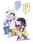 2boys arm_sling bandaged_head bandages bowl_cut brothers cast crate crutch eating food fruit heart heart_in_mouth hoodie jyushimatsu karamatsu male_focus multiple_boys osomatsu-kun osomatsu-san pear plate shinonoko_(tubamecider) siblings simple_background sitting sleeves_past_wrists slippers squatting translation_request trembling white_background