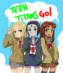 3girls :/ :d adjusting_hair alternate_costume blazer blue_background blue_eyes cardigan commentary_request dc_comics english eyebrows forehead_jewel green_eyes grey_skin gutn highres long_hair looking_at_viewer looking_up multiple_girls neckerchief necktie open_mouth pleated_skirt purple_hair raven_(dc) redhead ribbon school_uniform serafuku short_eyebrows short_hair simple_background skirt smile smirk speech_bubble starfire sweater teen_titans terra_(dc) text thick_eyebrows thigh-highs violet_eyes w