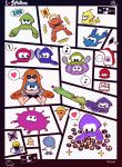 1girl barefoot bike_shorts buttons denchinamazu domino_mask exit_sign feet helmet highres inkling mask octarian pointy_ears sign soles splatoon squid super_soaker tentacle_hair toes yoshida_inuhito