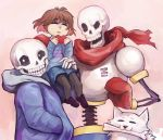 2boys androgynous armor artist_name bone brown_hair closed_eyes dog frisk_(undertale) gloves hand_in_pocket heart hoodie multiple_boys papyrus_(undertale) sans scarf shorts sitting_on_arm skeleton striped striped_sweater sweater tagme undertale yowamushi-chan_(choctopi)