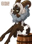1girl animal_print bangs barrel between_legs breasts commentary_request cow_print dark_skin dubwool eyebrows_visible_through_hair forehead full_body fur_collar furry gen_8_pokemon hand_between_legs hands_together hooves horizontal_pupils horns knees_together_feet_apart legs looking_at_viewer medium_breasts muguet number parted_lips personification pokedex_number pokemon pokemon_(creature) sheep_girl sheep_horns short_hair short_jumpsuit simple_background sitting solo teeth thick_eyebrows very_dark_skin white_background white_hair white_jumpsuit yellow_eyes