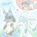 glaceon lucario no_humans pocky_day pokemon pokemon_(creature)