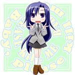 1girl double_v goshiki_agiri kill_me_baby long_hair necktie open_mouth purple_hair school_uniform shinbunya smile v