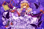 1girl black_legwear blonde_hair bow butterfly eyes fan folding_fan gap hat long_hair ribbon signpost smile solo touhou unory violet_eyes yakumo_yukari