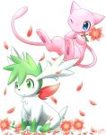 artist_name blue_eyes dated green_eyes ivan_(ffxazq) mew no_humans one_eye_closed petals pokemon pokemon_(creature) shaymin simple_background sitting white_background