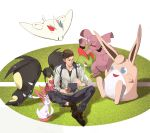 1boy absurdres blue_eyes brown_hair brown_shoes clenched_hand granbull handheld_game_console highres jacket kirlia mawile mega_mawile mega_pokemon nazgul_(5511474) nintendo_ds pokemon pokemon_(creature) shoes sitting smile sylveon togekiss wigglytuff