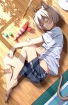1girl ahoge animal_ear_fluff animal_ears antenna_hair bangs barefoot blue_shorts blush cat_ears cat_tail closed_eyes commentary from_above full_body highres kiona_(giraffe_kiona) knee_up lying midriff on_floor on_side original shirt short_hair short_sleeves shorts sleeping solo tail white_shirt wooden_floor
