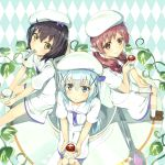 3girls absurdres argyle argyle_background bangs black_hair blue_hair blush bow brown_shoes closed_mouth cup curly_hair eyebrows from_above gochuumon_wa_usagi_desu_ka? hair_bow hair_ornament hair_scrunchie hairclip hat highres holding_cup jouga_maya kafuu_chino kneehighs leaf loafers long_hair looking_at_viewer mouth_hold multiple_girls natsu_megumi necktie oversized_object plate puffy_short_sleeves puffy_sleeves red_eyes redhead sailor_collar seneto shirt shoes short_hair short_sleeves sitting skirt skirt_set spoon spoon_in_mouth tea teacup twintails uniform very_long_hair vines white_hat white_legwear white_shirt yellow_eyes