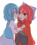 2girls bandaged_neck blue_eyes blue_hair blush bow cape eye_contact hair_bow hands_on_another's_chest high_collar incipient_kiss jitome juliet_sleeves large_bow long_sleeves looking_at_another multiple_girls pocky pocky_day pocky_kiss puchimirin puffy_sleeves red_eyes redhead sekibanki shared_food short_hair skirt tatara_kogasa touhou tunic yuri