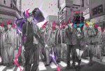 :d bag bangs baseball_cap belt black_eyes black_hair black_necktie black_pants black_skirt blazer blue_eyes blunt_bangs braid brown_shoes building cellphone chain character_request city closed_eyes crosswalk facial_hair gakuran glasses glowing glowing_eye glowing_eyes glowing_weapon hair_between_eyes hammer hat highres holding_phone holding_weapon holster hood_down jacket kneehighs leg_warmers loafers long_hair long_sleeves looking_to_the_side low_ponytail miniskirt multiple_boys multiple_girls one_eye_closed open_mouth pants phone pink_eyes pleated_skirt police police_uniform red_bowtie road school_uniform shikihara_mitabi shirt shoes short_hair shoulder_bag silver_hair skirt smile spot_color standing street thigh_holster traffic_light tree twin_braids uniform very_long_hair walking weapon white_hair white_shirt yellow_eyes yokuoni
