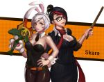 2girls absurdres alternate_costume artist_name bare_shoulders battle_bunny_riven bespectacled black_hair blue_eyes breasts broken broken_sword broken_weapon bunny_girl bunnysuit destiny_yama fiora_laurent glasses hair_over_one_eye hair_up headmistress_fiora highres large_breasts league_of_legends lips lipstick looking_at_viewer makeup multicolored_hair multiple_girls pantyhose parted_lips redhead riven_(league_of_legends) short_hair silver_hair sword weapon yellow_eyes