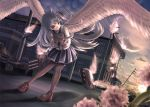 1girl backlighting bangs bent_over black_legwear blue_hair building clouds dutch_angle fire floating_object flower grey_eyes hammer_and_sickle hat hat_removed headwear_removed hibiki_(kantai_collection) hitohinoto holding kantai_collection loafers long_hair long_sleeves looking_back outdoors phoenix_wings pleated_skirt power_lines school_uniform serafuku shoes silver_hair skirt sky solo standing sun thigh-highs transparent_wings twilight utility_pole_(object) verniy_(kantai_collection) weapon wings
