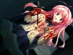 1girl blood blood_on_face bloody_clothes blue_skirt chaos;head highres holding_weapon long_hair open_mouth pink_eyes pink_hair pleated_skirt sakihata_rimi school_uniform skirt solo