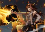 >:d 1girl :d absurdres ahoge blue_eyes brown_hair detached_sleeves embers explosion fire highres kantai_collection kongou_(kantai_collection) looking_away mk nontraditional_miko open_mouth outstretched_arm rigging smile smoke solo turret watermark web_address