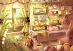 bag basket beaker book bookbag cabinet curtains flower highres lily_of_the_valley moon niikura_kaori no_humans open_book original paper plaque rainbow rose star still_life stuffed_toy vial window windowsill