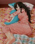 1girl barefoot beifeng_han black_hair dolphin hair_between_eyes long_hair messy_hair miyaura_sanshio original pillow sleeping solo star_print stuffed_animal stuffed_dolphin stuffed_toy violet_eyes