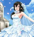 1girl beifeng_han black_hair breasts choker church cleavage dress flower hair_between_eyes hair_flower hair_ornament long_hair miyaura_sanshio original petals rose solo strapless_dress veil violet_eyes wedding_dress white_dress white_rose