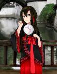 1girl arch beifeng_han black_hair bridge chinese_clothes fan fence hair_between_eyes hair_ornament long_hair looking_at_viewer miyaura_sanshio original solo violet_eyes water