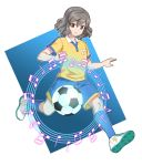 1boy ball beamed_quavers brown_eyes brown_hair crotchet fortissimo_(inazuma_eleven) inazuma_eleven_(series) inazuma_eleven_go male_focus minim musical_note quaver raimon raimon_soccer_uniform shindou_takuto simple_background soccer soccer_ball soccer_uniform solo sportswear staff_(music) t_(toddy_t) telstar white_background