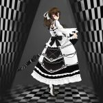 1girl beifeng_han black_hair checkered checkered_floor checkered_wall dress gothic_lolita hair_between_eyes hair_ribbon lolita_fashion long_hair looking_back miyaura_sanshio original ponytail ribbon skirt_hold solo umbrella violet_eyes