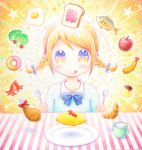 1girl apple aura blonde_hair bow braid chicken_leg commentary croissant cup doughnut fish floating_object food fried_chicken fruit hair_bow halo holding holding_fork holding_spoon jam leica lettuce looking_at_viewer mug multicolored_eyes omelet original plate pudding sausage shrimp shrimp_tempura star striped_tablecloth sunny_side_up_egg tablecloth tempura toast tomato tongue tongue_out