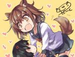 +_+ 1boy 1girl admiral_(kantai_collection) anger_vein animal_ears artist_name black_legwear brown_eyes brown_hair darkside dog_ears dog_tail fang heart ikazuchi_(kantai_collection) kantai_collection kemonomimi_mode open_mouth school_uniform serafuku short_hair skirt tail thigh-highs