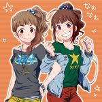 2girls blush brown_hair cosplay costume_switch eyebrows hair_scrunchie idolmaster idolmaster_cinderella_girls idolmaster_million_live! kamiya_nao kyouno long_hair looking_at_viewer multiple_girls namesake polka_dot polka_dot_scrunchie print_scrunchie red_eyes side_ponytail smile star_print violet_eyes yokoyama_nao