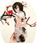 1girl :d beifeng_han black_hair braid china_dress chinese_clothes flower_request hair_between_eyes long_hair looking_back miyaura_sanshio open_mouth original side_slit smile solo tanghulu tree violet_eyes