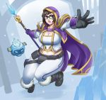 1girl belly blizzard_(company) boots breasts brown_hair cleavage company_connection cosplay exaxuxer glasses gloves highres hood ice jaina_proudmoore jaina_proudmoore_(cosplay) large_breasts mei_(overwatch) open_mouth overwatch plump short_hair solo staff thighs warcraft