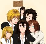 1girl 2boys 3girls :d aqua_eyes beifeng_han birthday_cake black_hair blonde_hair brown_hair cake character_request dress_shirt food hair_between_eyes long_hair miyaura_sanshio multiple_boys multiple_girls open_mouth original shirt short_hair sign simple_background smile solo violet_eyes yellow_eyes