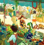 2girls 3boys apron awning balloon bandana basket berries black_hair black_legwear bluk_berry bottle box brown_hair cabinet candy chimecho chingling durin_berry figy_berry flower flower_pot food fruit gloves grepa_berry grovyle haruka_(pokemon) hat jar kneehighs leaf market minahamu miniskirt minun mortar multiple_boys multiple_girls on_head open_mouth paper pecha_berry pen pestle plant plusle poke_ball pokemon pokemon_(creature) pokemon_(game) pokemon_rse pomeg_berry shirt short_hair short_sleeves short_twintails sitrus_berry skirt smile standing swablu t-shirt twintails wailmer walking watmel_berry wheat wind_chime yellow_sclera zigzagoon