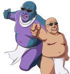 1boy fat fat_man fundoshi hentai_kuso_oyaji japanese_clothes jojo_no_kimyou_na_bouken kuujou_joutarou meme missing_tooth old_man parody pose smirk stand_(jojo) star_platinum sunglasses takahirokun