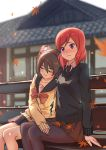 2girls arm_at_side arm_support autumn_leaves bangs bench black_hair black_legwear black_necktie blurry blush bow brown_skirt building closed_eyes depth_of_field embarrassed frown hand_on_another's_thigh highres leaf leaning_on_person long_sleeves love_live!_school_idol_project maple_leaf multiple_girls necktie nervous nishikino_maki nose_blush pantyhose pleated_skirt red_bow redhead school_uniform scrunchie serafuku short_hair short_twintails side-by-side sitting skirt sleeping sweater swept_bangs twintails violet_eyes wavy_mouth white_blouse wing_collar winter_uniform yazawa_nico yuri zhanzheng_zi