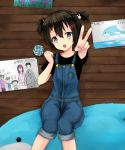 1girl :d beifeng_han black_hair blush bunny_hair_ornament candy child dolphin drawing family hair_between_eyes hair_ornament lollipop long_hair looking_at_viewer miyaura_sanshio open_mouth original overalls partially_translated short_twintails simple_background sitting smile solo stuffed_animal stuffed_dolphin stuffed_toy translation_request twintails v violet_eyes white_background younger